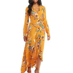 Patrons of Peace - marigold floral maxi wrap dress